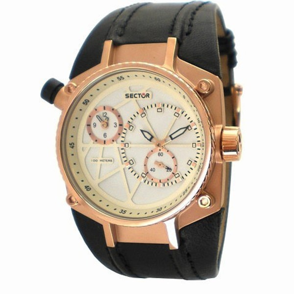 Reloj analógico piel hombre - negro/cobre