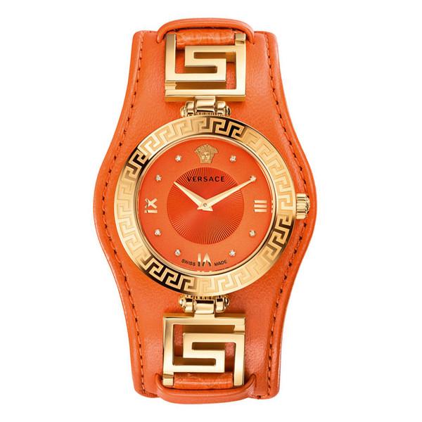 Reloj analógico mujer piel - naranja