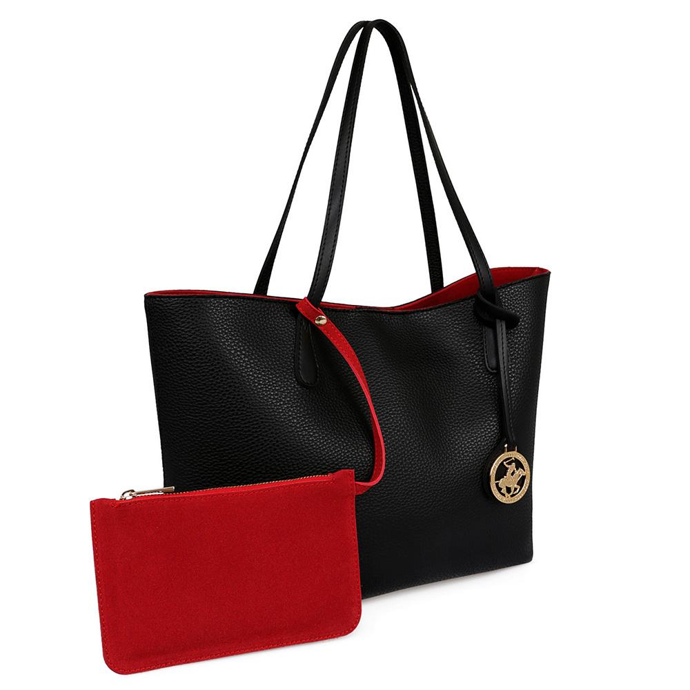 Set Bolso y cartera mujer - negro/rojo