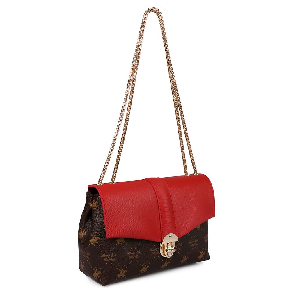Bolso mujer - marrón/rojo