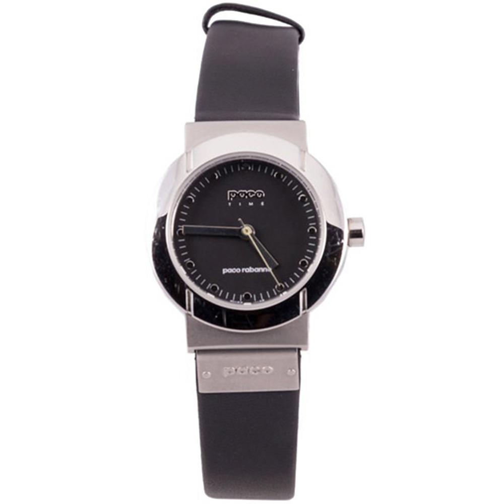 Reloj analógico piel mujer - negro/plateado