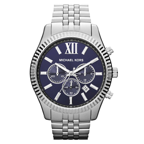 Reloj analógico/cronógrafo acero hombre - plateado/azul