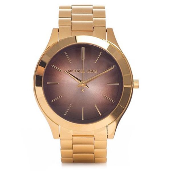 Reloj analógico mujer acero - dorado/marrón
