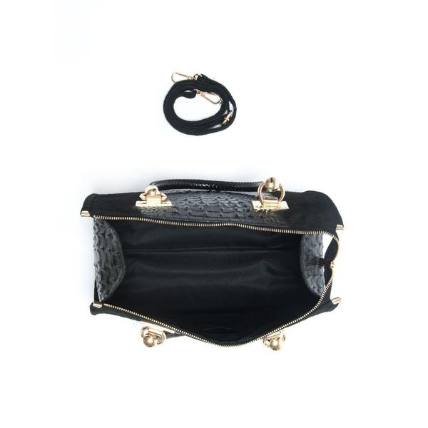 24x32x17cm Bolso top handle piel - negro