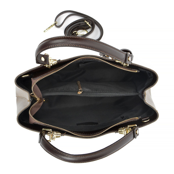 23,5x36x12cm Bolso top handle piel - marrón oscuro/fango