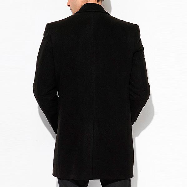 Abrigo liso con botones y bolsillos - negro