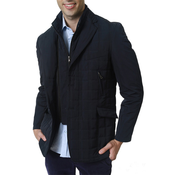 Abrigo tejido combinado - azul oscuro