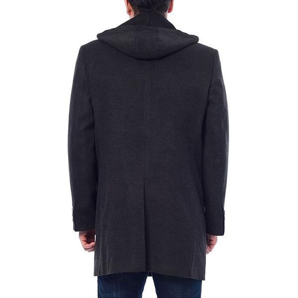 Abrigo largo con capucha - antracita