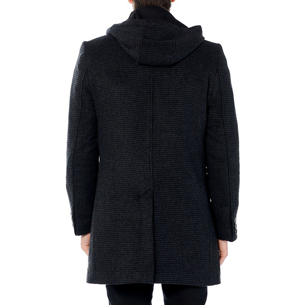 Abrigo de lana con capucha - marino