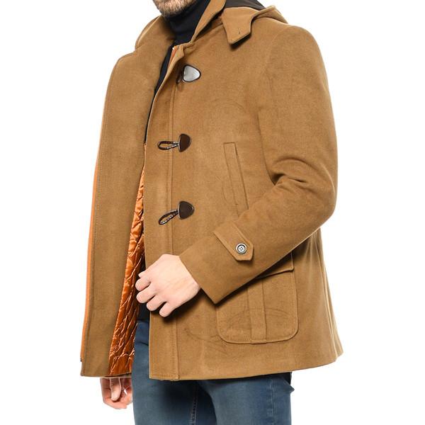 Abrigo lana con capucha - camel