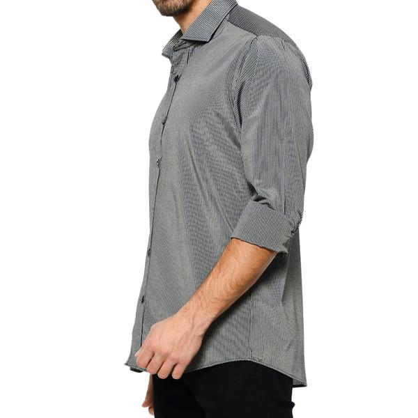 Camisa m/larga solapa - negro/antracita