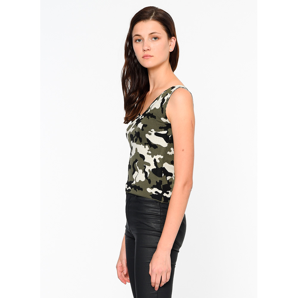 Camiseta s/mangas mujer - militar