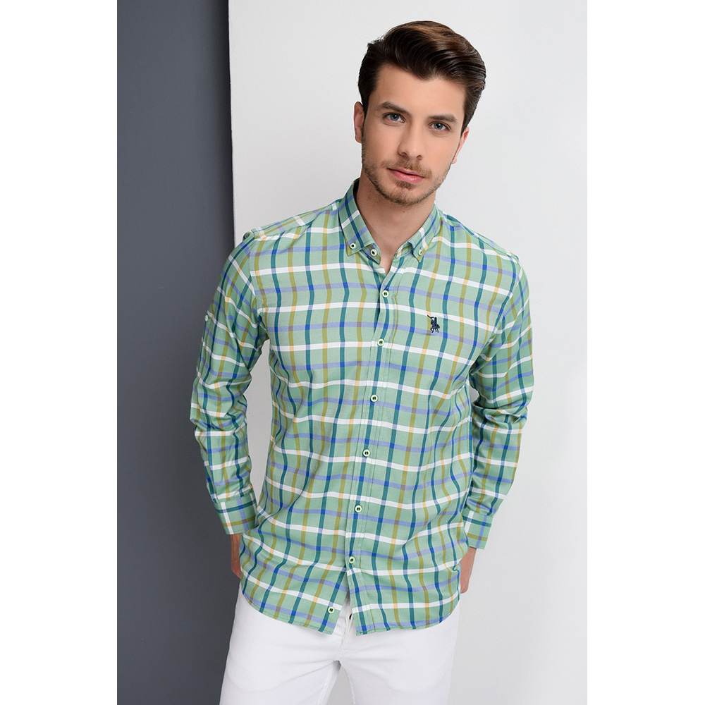 Camisa hombre - cuadros/verde