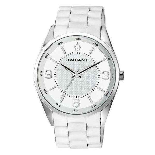 Reloj analógico acero/caucho hombre - blanco
