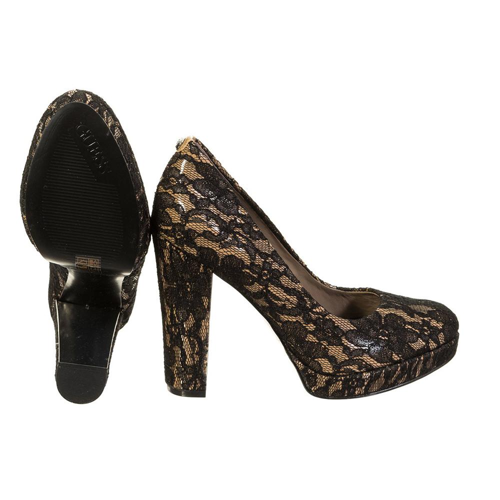 11,5cm Zapato tacón mujer - negro/beige