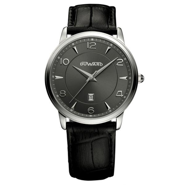 Reloj analógico piel/acero mujer - negro/gris oscuro