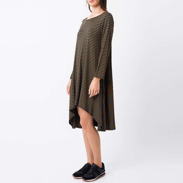Vestido mujer - gris oscuro/mostaza