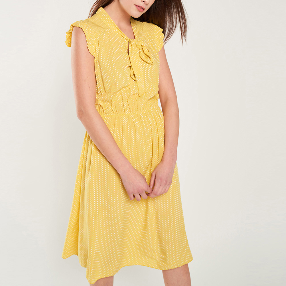Vestido mujer - amarillo/blanco