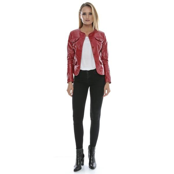 Chaqueta piel slim fit mujer - rojo
