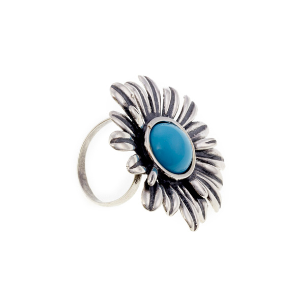Anillo plata margarita con piedra - plateado/azul