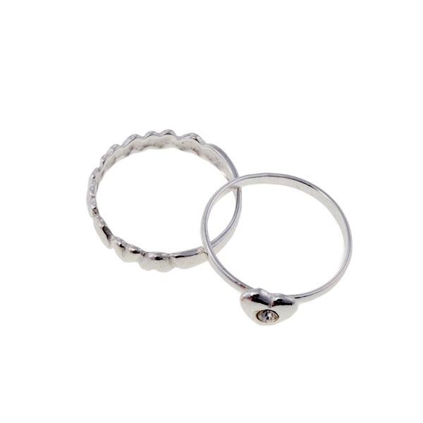 Conjunto 2 anillos de plata corazones - plateado