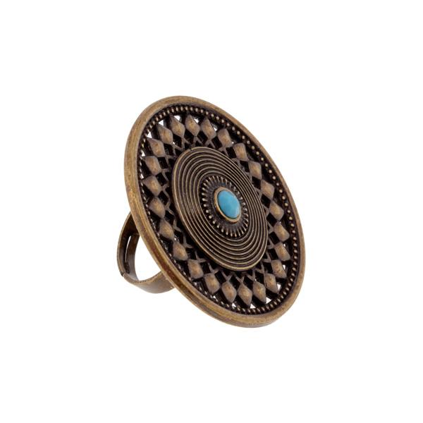 Anillo adaptable redondo con piedra - bronce/azul