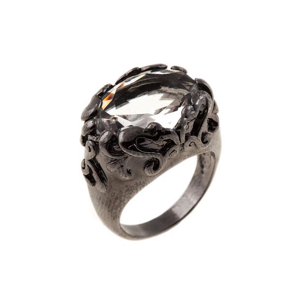 Anillo metálico con piedra central - plateado oscuro