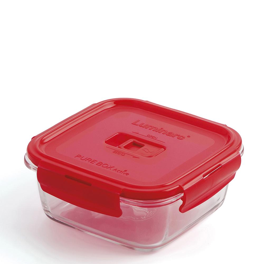 Tupper hermético cuadrado 76cl - rojo
