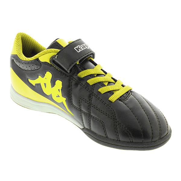 Deportivas cordones y velcro Soccer infantil - negro/amarillo
