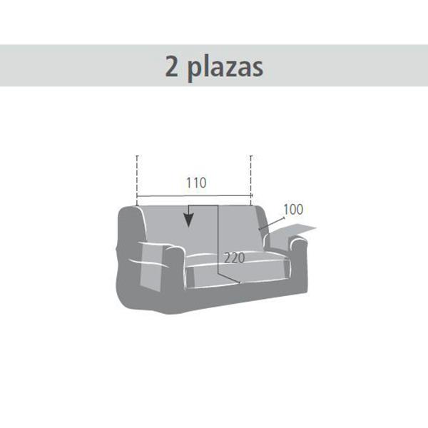 110cm Cubre sofá 2 plazas Índico - gris