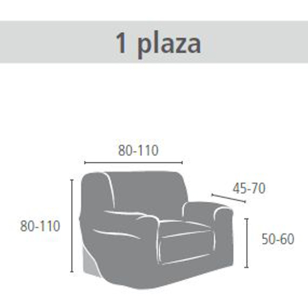 80/110cm Funda sofá 1 plaza - gris