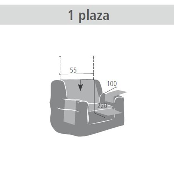 55cm Cubre sofá liso 1 plaza - fucsia