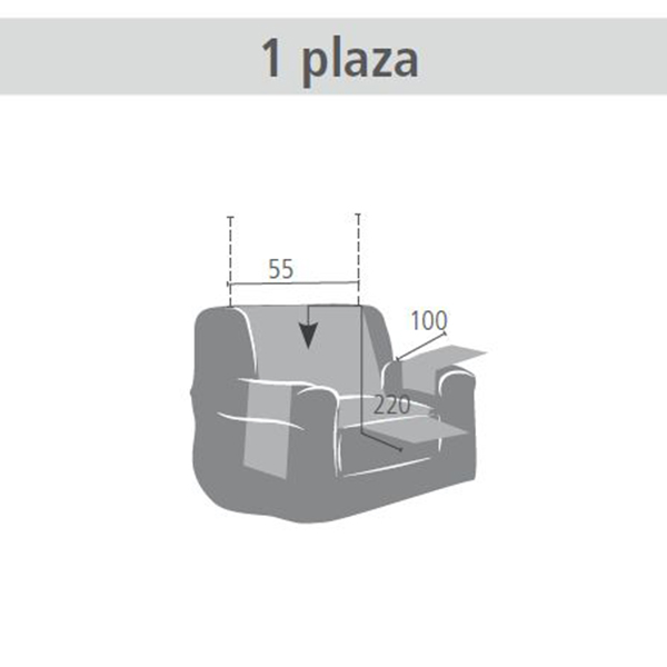 55cm Funda lisa 1 plaza - marrón