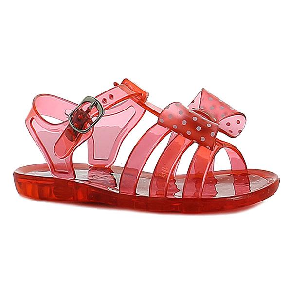 Sandalia plana de goma semi transparente Minnie - rojo