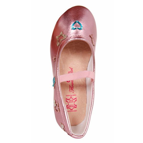 Bailarinas efecto brillo con detalles a contraste - rosa