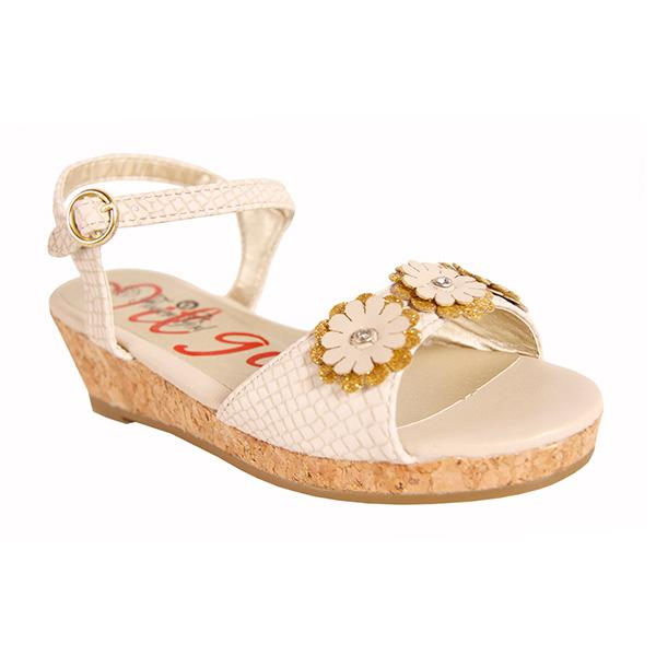 Sandalias con flores - beige/dorado