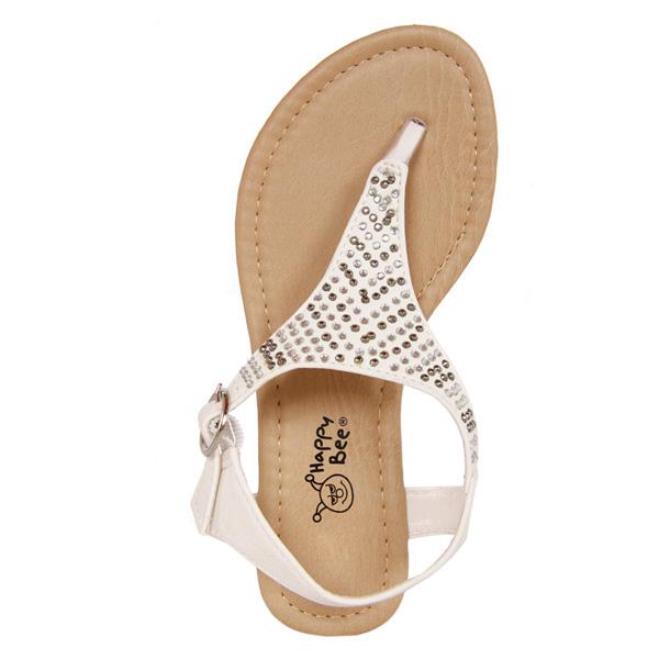Sandalias de dedo detalles tipo strass - blanco