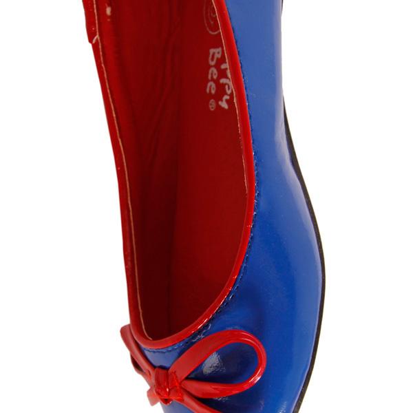 Bailarinas efecto brillo con lacito - azul/rojo