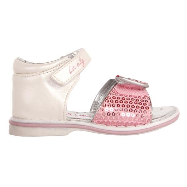Sandalias con lentejuelas y corazones - rosa/plateado