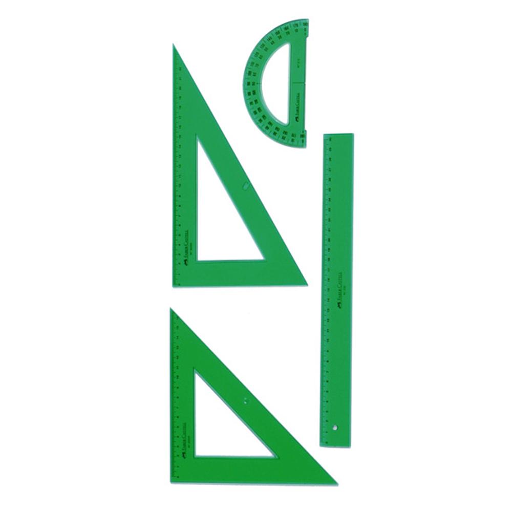 Blíster 4pz Reglas de dibujo faber-castell verde