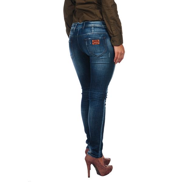 Pantalón largo tejano desgastado - azul