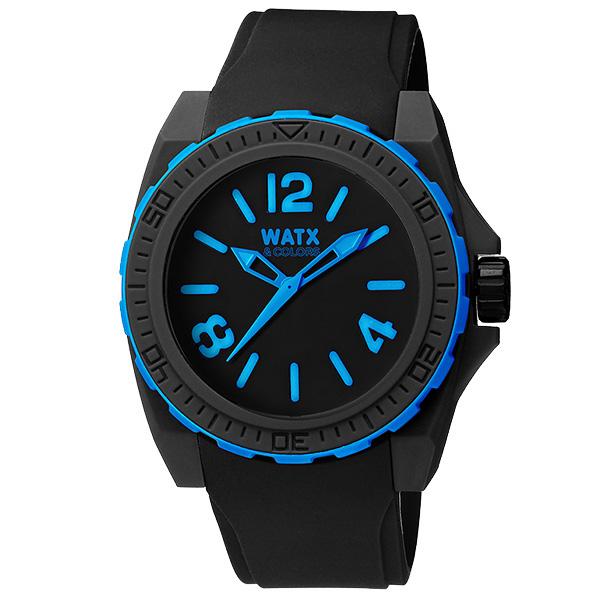 Reloj analógico caucho unisex - negro/azul