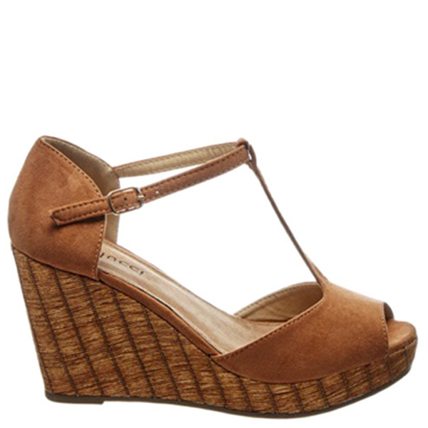 8,5cm Sandalia cuña mujer - camel