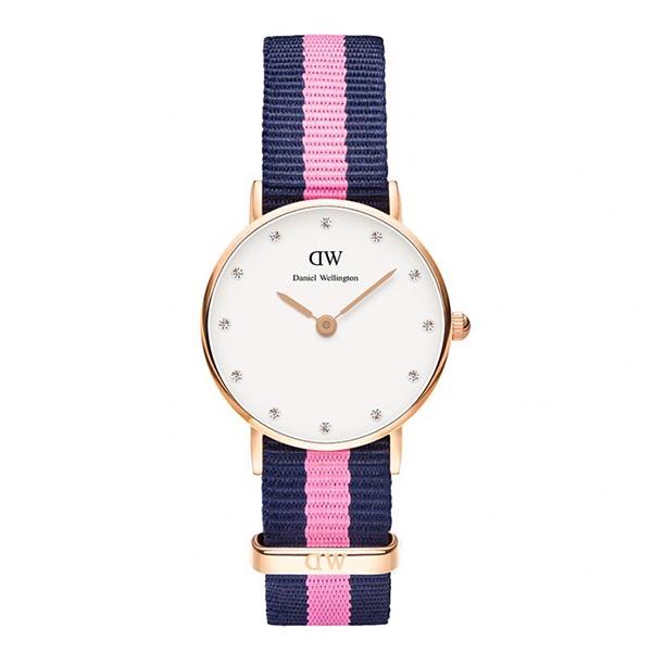 Reloj analógico nylon mujer - marino/rosa