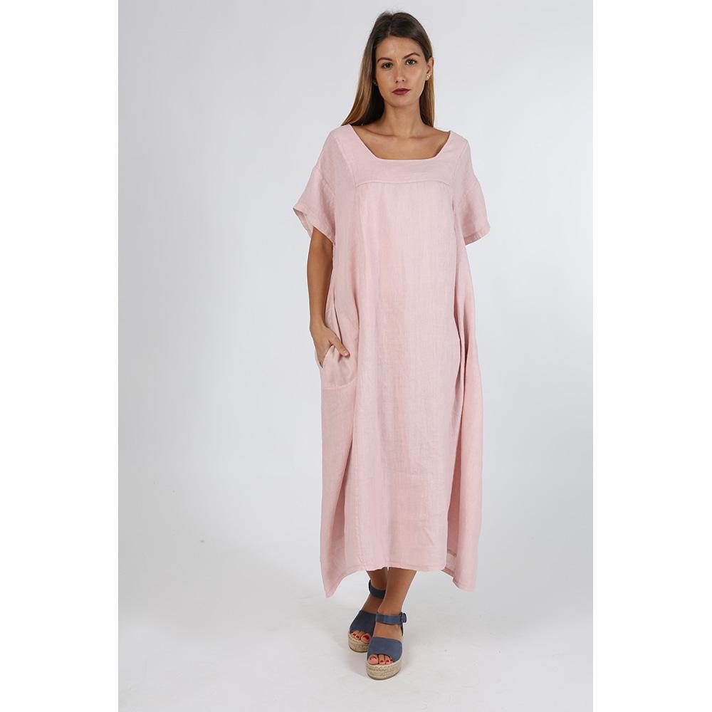Vestido lino mujer - rosa