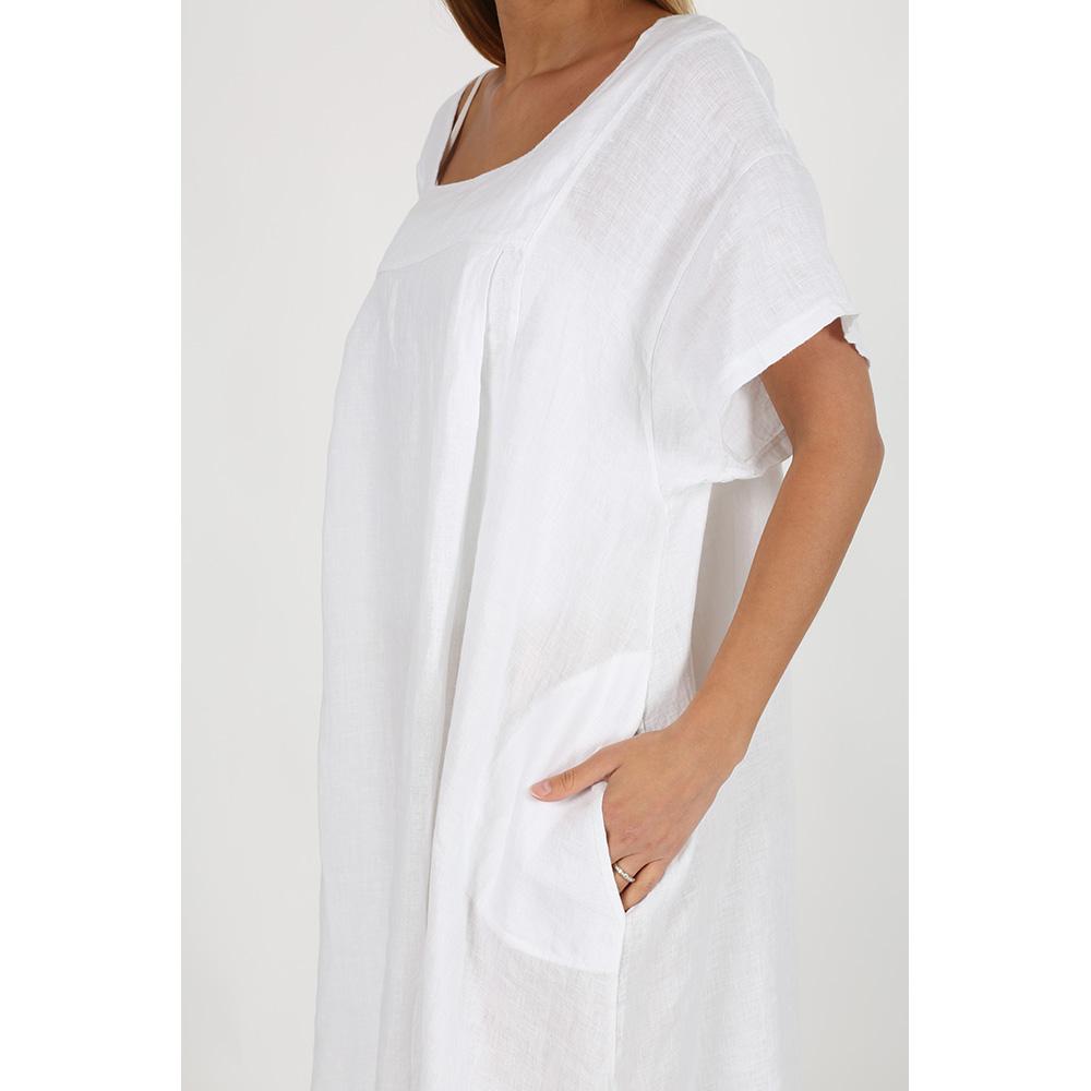 Vestido lino mujer - blanco