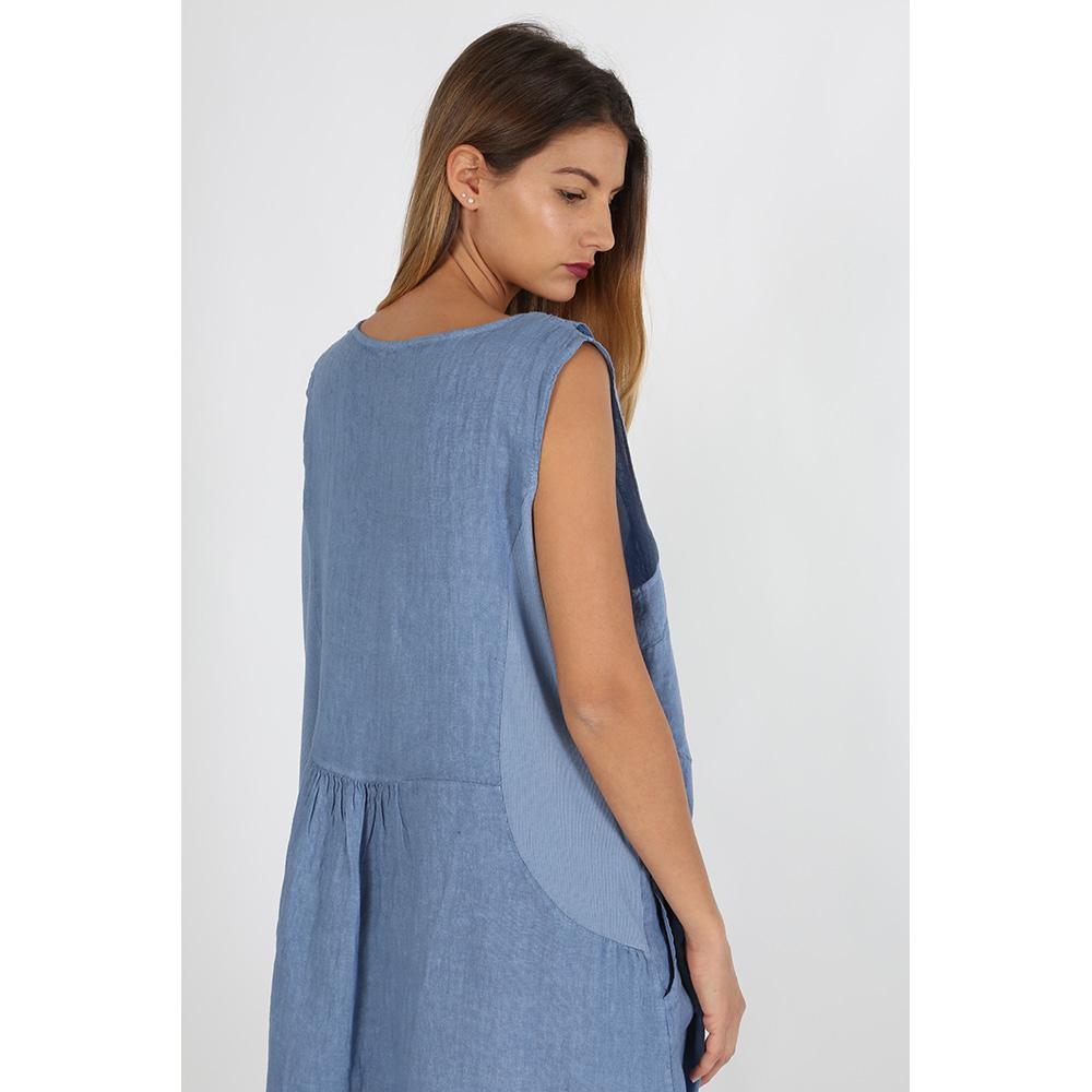 Vestido lino mujer - azul claro