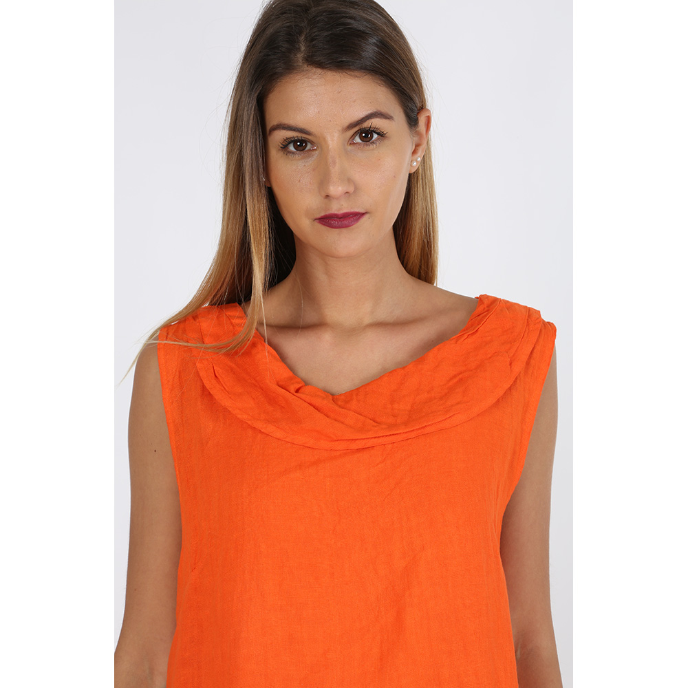 Vestido lino mujer - naranja