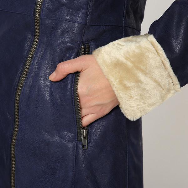 Abrigo de piel mujer - marino