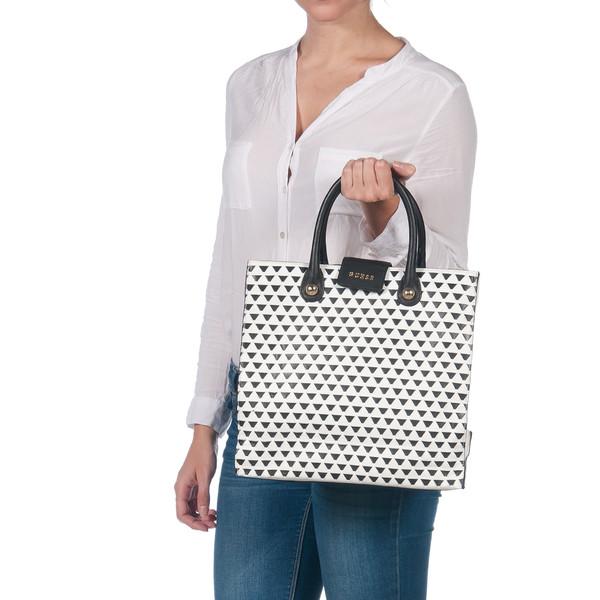 32x31x14cm Bolso shopping piel - blanco/negro